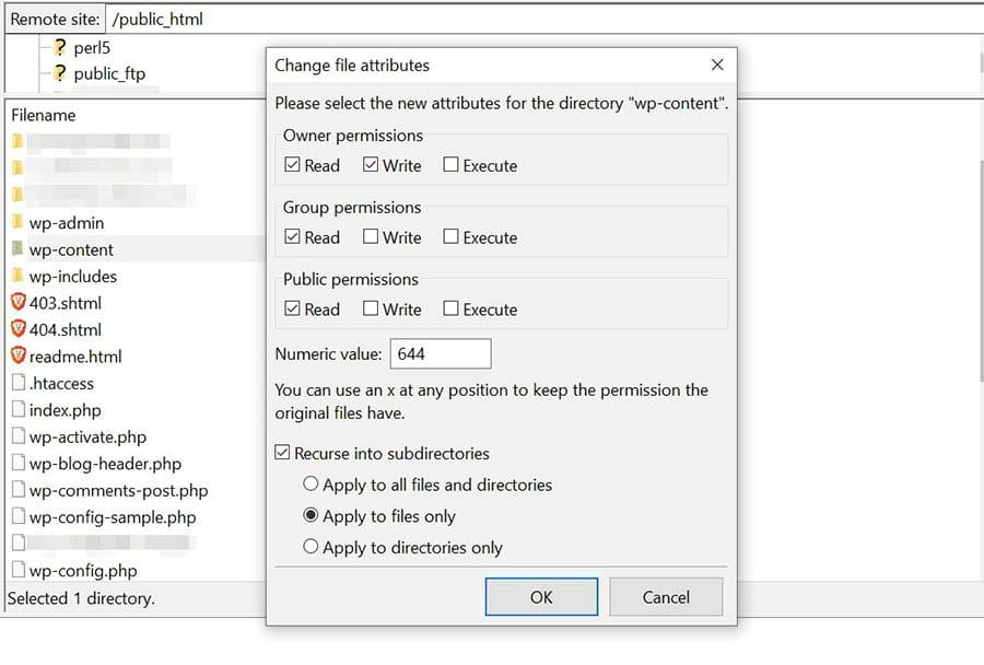 Cambiando los permisos de archivo de tus archivos en FileZilla.