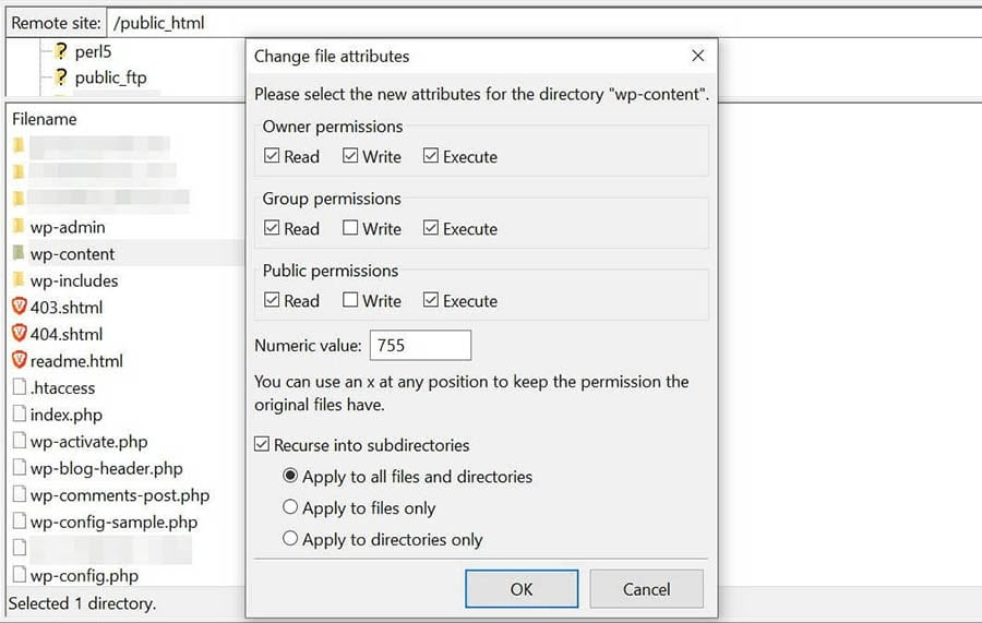 Changing the file permissions of your subdirectories in FileZilla.