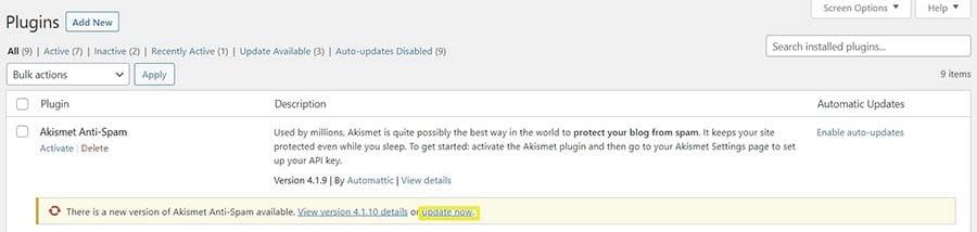 Updating plugins in WordPress.
