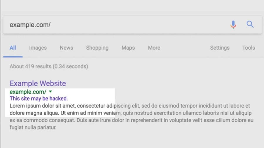 Google's search engine results warning.