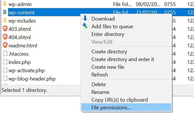 Locating the wp-content folder in your site's root directory.