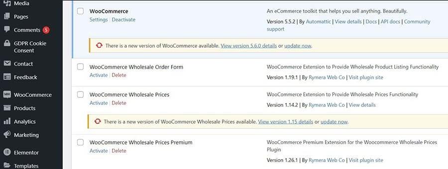 The WordPress updates dashboard.