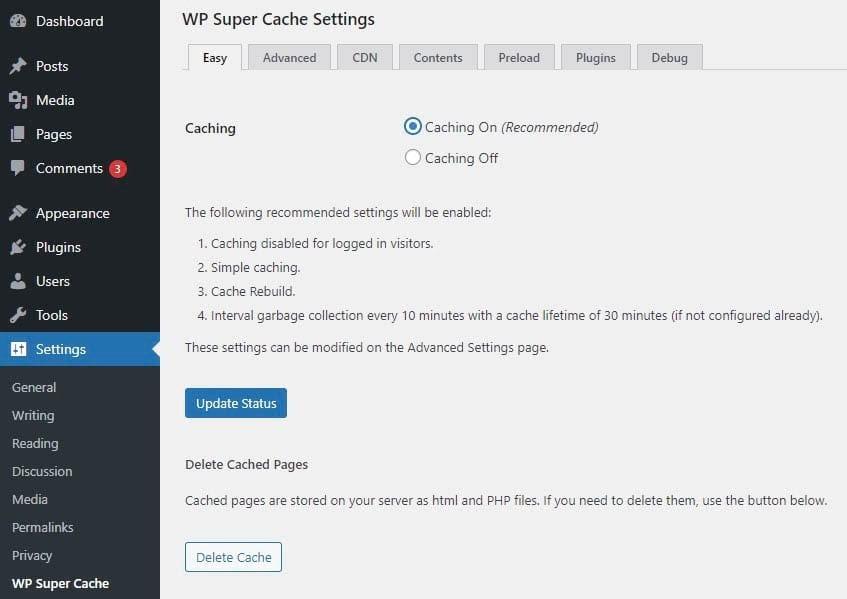How to delete the cache using WP Super Cache.
