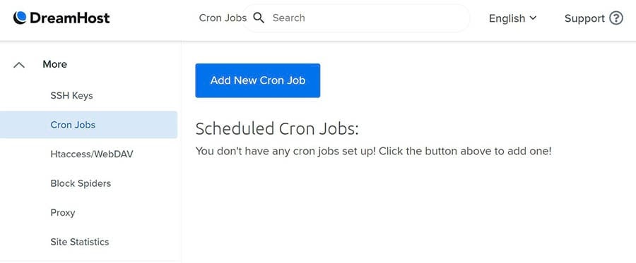 Adding a new cron job from the DreamHost panel.