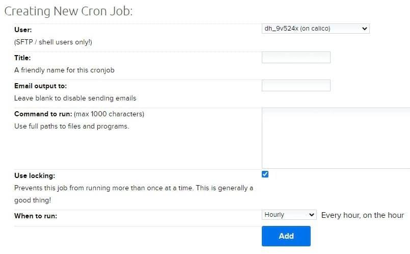 Adding a cron job manually.