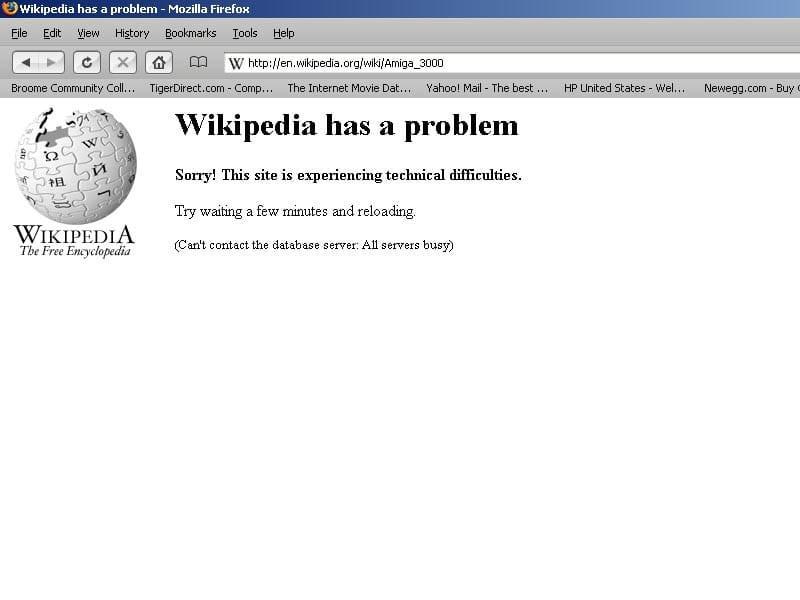 La página de Wikipedia experimentando dificultades técnicas.