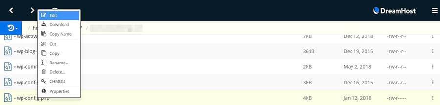 Cómo editar el archivo wp-config.php en el Administrador de Archivos de DreamHost.