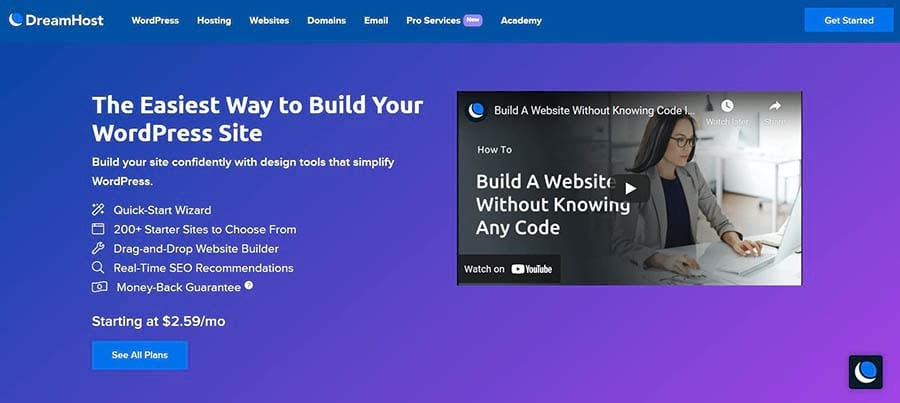 DreamHost's WP Website Builder Page