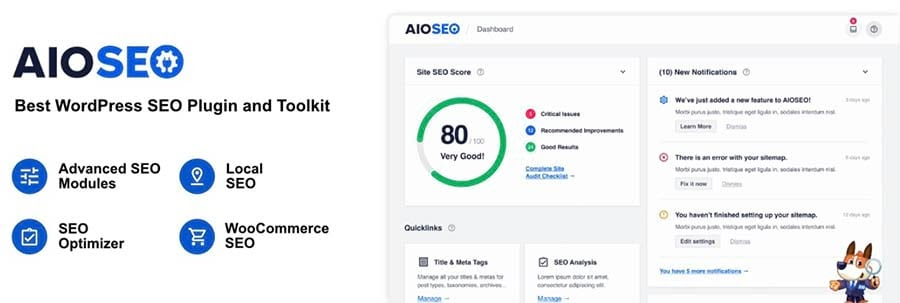 The AIOSEO WordPress banner.